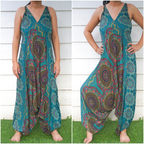 Soft and Breathable Teal Mandala Hippie Boho Rompers