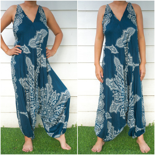 Teal Butterfly Hippie Boho Festival Clothing Rompers