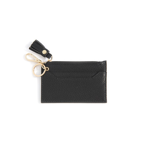 CECE CARD CASE WITH KEY CHAIN BLACK WALLET
