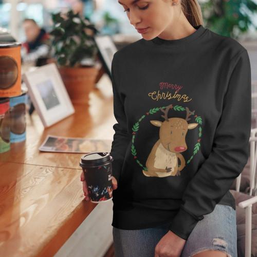 Womens Soft and Breathable Reindeer Crewneck Sweatshirt