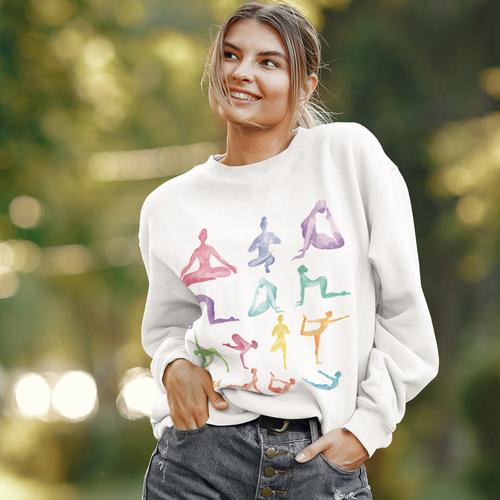 Women Soft and Breathable Yoga Theme Crewneck Sweatshirt