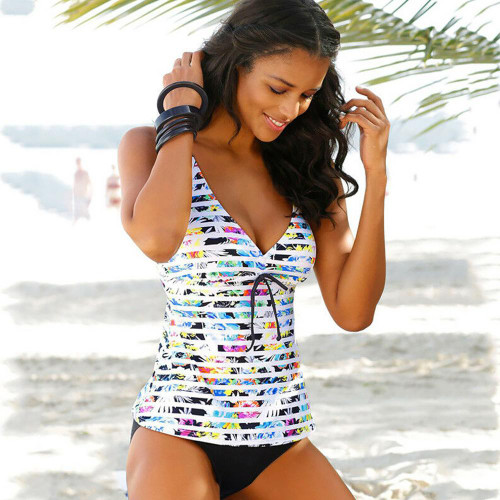 Womens Swimsuit Tankini Set with Contrasting Shorts
