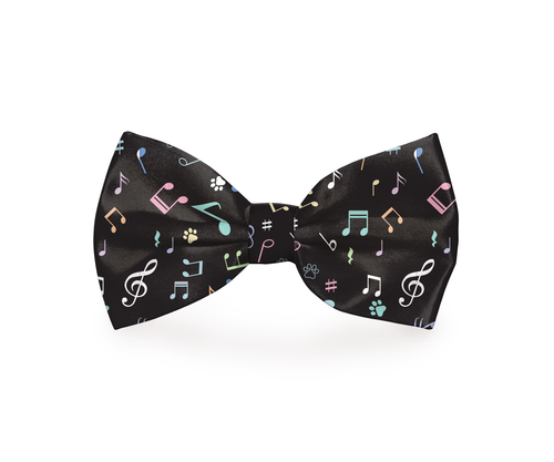 Music Notes Black Dog Bow Tie