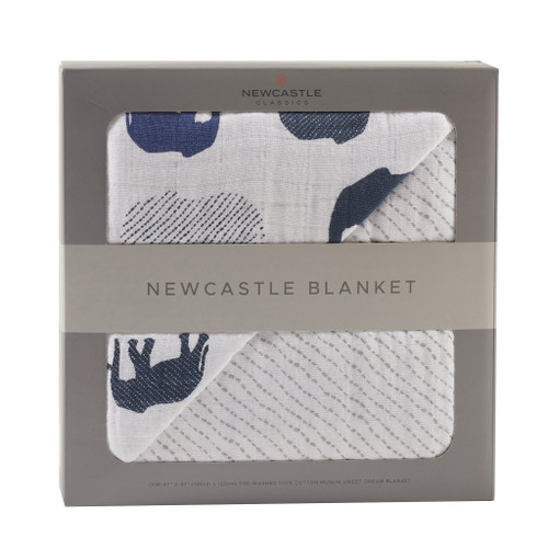 Blue Elephant and Spotted Wave Newcastle Blanket Natural Cotton Fibers