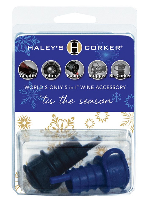 Haley's Corker® Double-Carded Blue & Black Holiday Clamshell