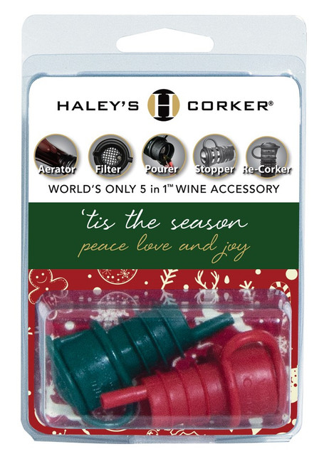 Haley's Corker® Double-Carded Red & Green Holiday Clamshell