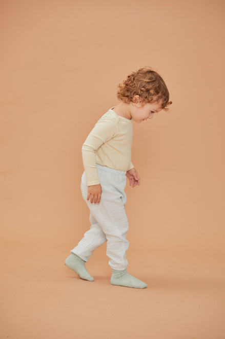 Button Gauze Pants - Sky white Imported 100% Cotton