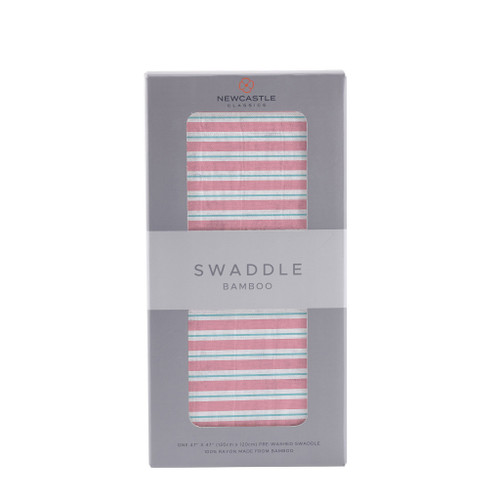 Candy Stripe Swaddle 100% Natural Bamboo Muslin Breathable Fabric