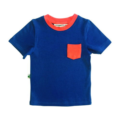 Contrast Pocket Tee Navy & Red 100% Organic Cotton Dyed