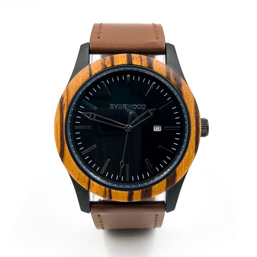 Inverness Zebrawood Brown Leather & Hardened Mineral Crystal Glass