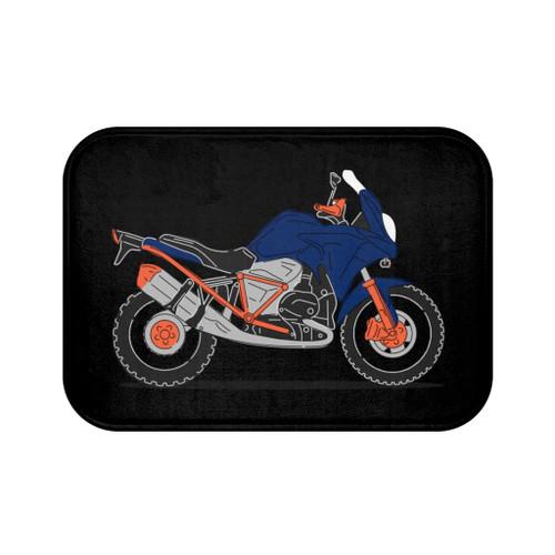 "Blue Motorcycle Bath Mat (24"" x 17"")"
