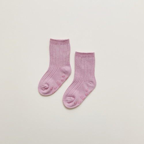 Maybell socks - Dawn Pink Soft ribbed Crew Socks