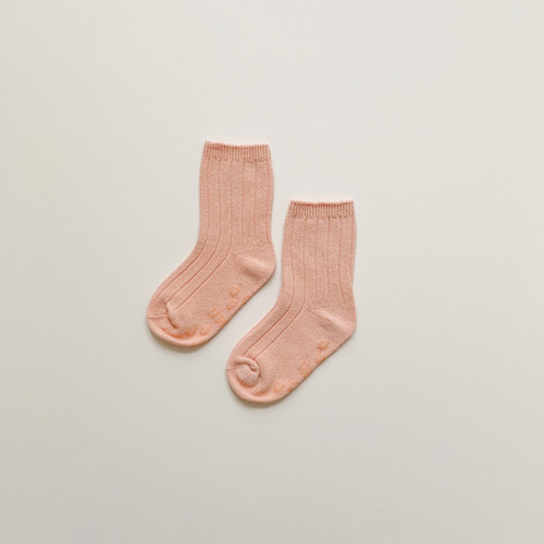 Maybell socks - Apricot Soft Ribbed Crew Socks 98% cotton 2% spandex