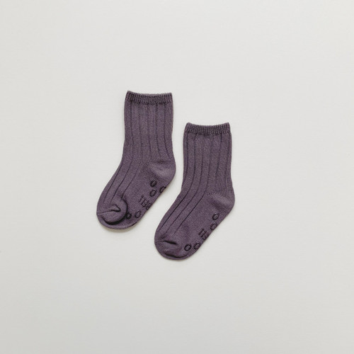 Maybell socks - Deep Taupe Soft Ribbed Crew Socks 98% Cotton