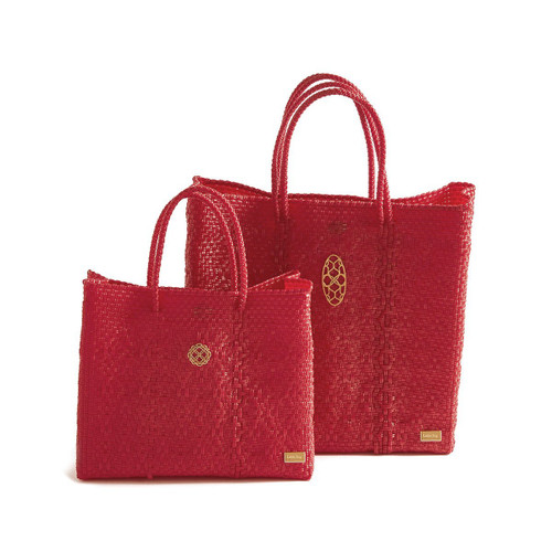 MEDIUM RED TOTE BAG TO BRIGHTEN YOUR DAY
