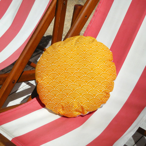 Sunny Wave Round Batik Decorative Round Pillow Bright Rainbow Design