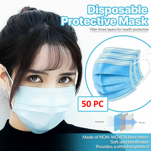 3-Ply Disposable Face Mask Non Medical Surgical Earloop [50 PCS]