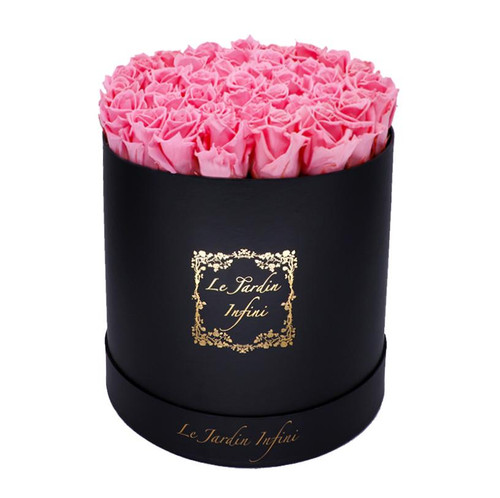 Soft Pink Preserved Roses - Large Round Luxury Black Suede Box