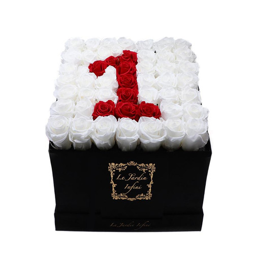 1 Red & White Preserved Roses - Large Square Luxury Black Suede Box