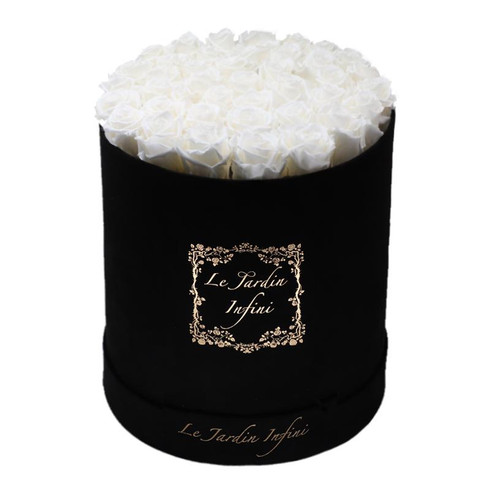 Soft White Preserved Roses - Large Round Luxury Black Suede Box