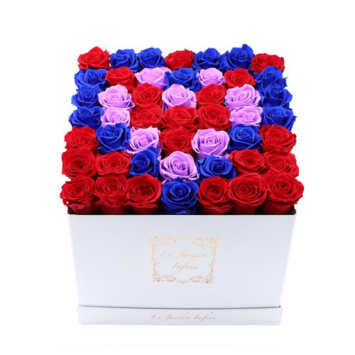 3 Hearts Design Red, Royal Blue & Lilac Preserved Roses - Large Square