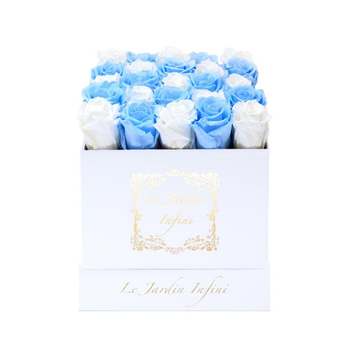 Checker White & Light Blue Preserved Roses - Medium Square White Box