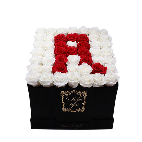 Letter R Red & White Preserved Roses - Large Square Luxury Black Suede