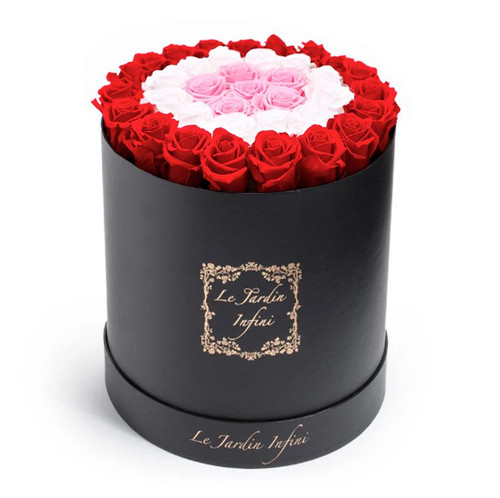 Red, Soft Pink & White Circles Preserved Roses - Large Round Black Box