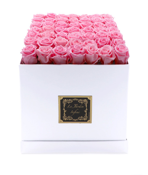 Beautiful Soft Pink Preserved Roses - Large Square White Box