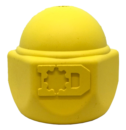 ID Cap Nut Ultra-Durable Rubber Chew Toy and Treat Dispenser - Yellow