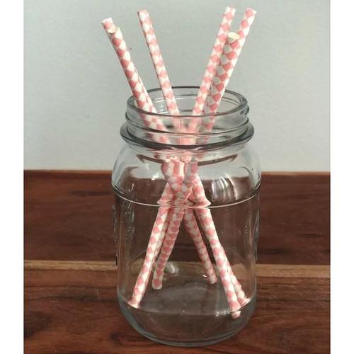 Light Pink Harlequin Biodegradable Paper Straws