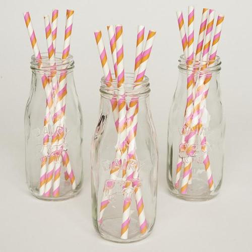 Pink and Orange Double Diagonal Stripe Biodegradable Paper Straws