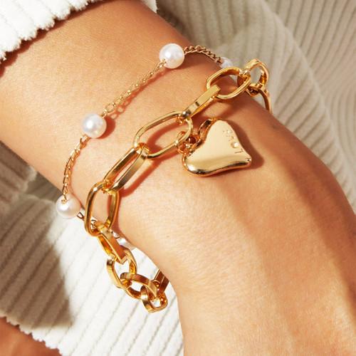 2 Piece Heart and Pearl Bracelet Set 18K Gold Plated Bracelet