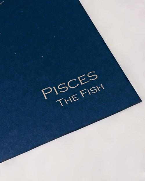 Smooth Navy Blue Pisces Constellation Zodiac Art Print