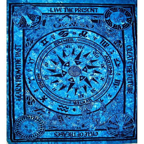 100% Cotton & Handmade Turquoise Cycle Of The Ages Tapestry