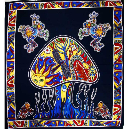 90 x 80 Inches Psychedelic Mushroom Garden Tapestry