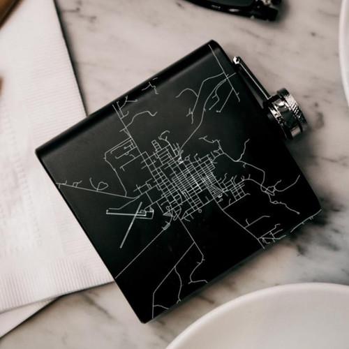 Valentine - Nebraska Map Hip Flask in Matte Black Includes canvas bag