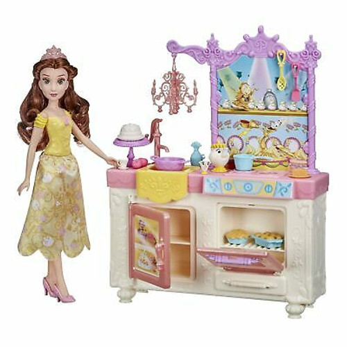 Disney Princess Belle's Royal Kitchen, Fashion Doll and Playset with 13 Accessories