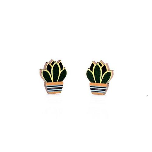 "0.5"" x 0.5"" Designed Lightweight Succulent Stud Earrings"