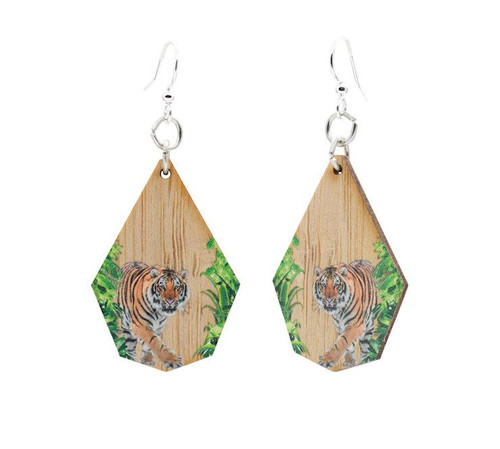 "0.9"" x 1.3"" Eco-Fashion Tiger Bamboo Earrings"