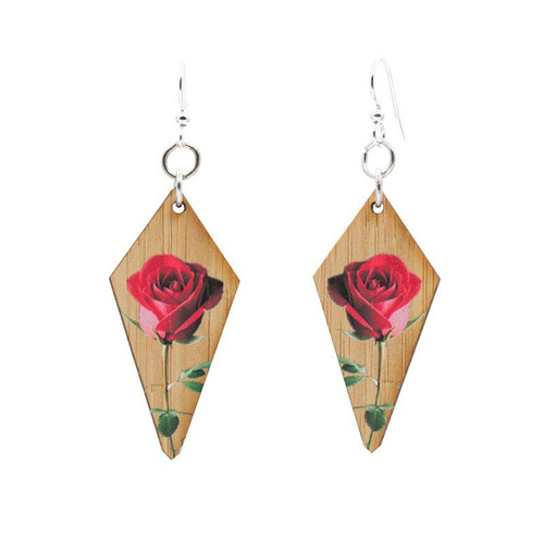 "0.8"" x 1.6"" Eco-Fashion Final Rose Bamboo Earrings"
