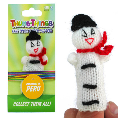 Eco Friendly Christmas Snowman Finger Puppet (red scarf)