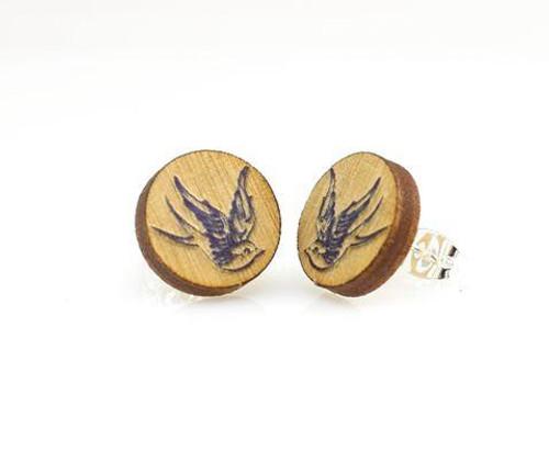 "0.5"" x 0.5"" Eco-Friendly Lightweight Sparrow Stud Earrings"