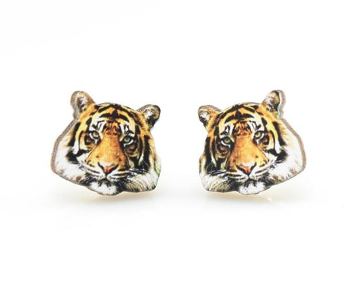 """0.5"""" x 0.5"""" Eco-Friendly Funny Tiger Stud Earrings"""
