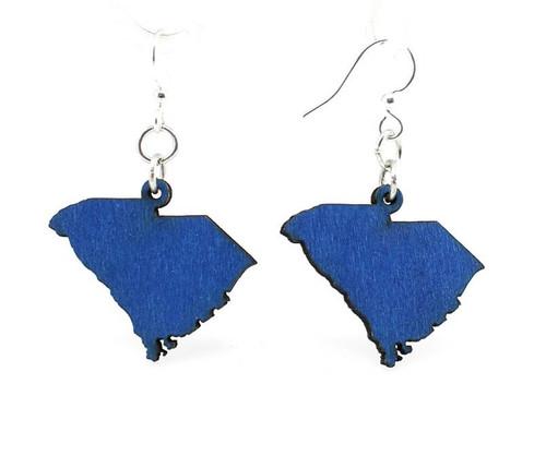 "1.0"" x 1.1"" Lightweight Blue South Carolina State Earrings"