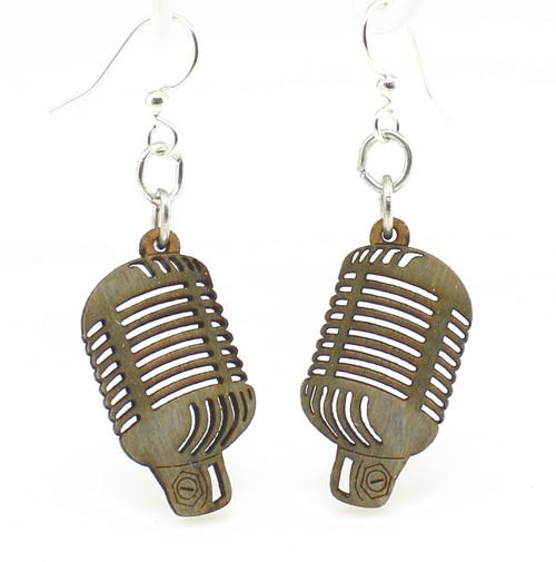 "1.1"" x 1.2"" Lightweight Gray Retro Vintage Microphone Earrings"