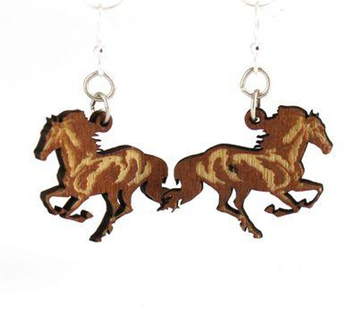 "1"" x 1.3"" Eco-Friendly Running Horse Earrings"