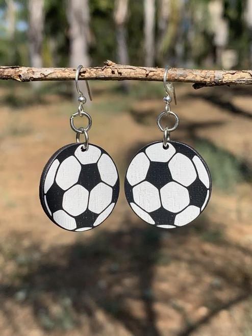 """0.926"""" x 0.926"""" White & Black Soccer Ball Earrings"""