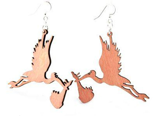 """2.1"""" x 1.8"""" Eco-Friendly Designed & Beautiful Stork Earrings"""