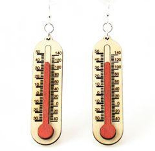 """1.8"""" x 1.6"""" Cherry Red Thermometer Earrings"""